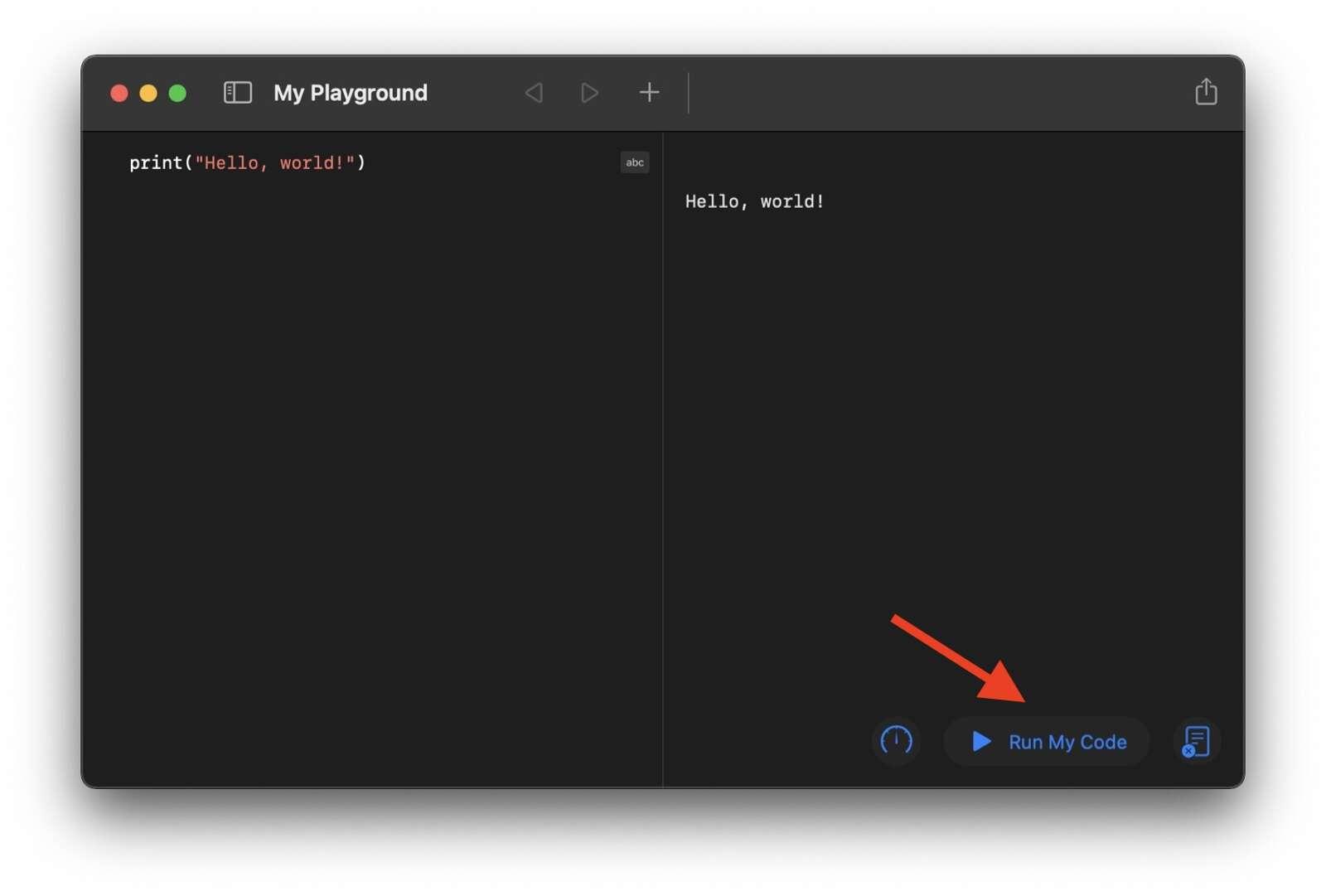 Running first Swift code